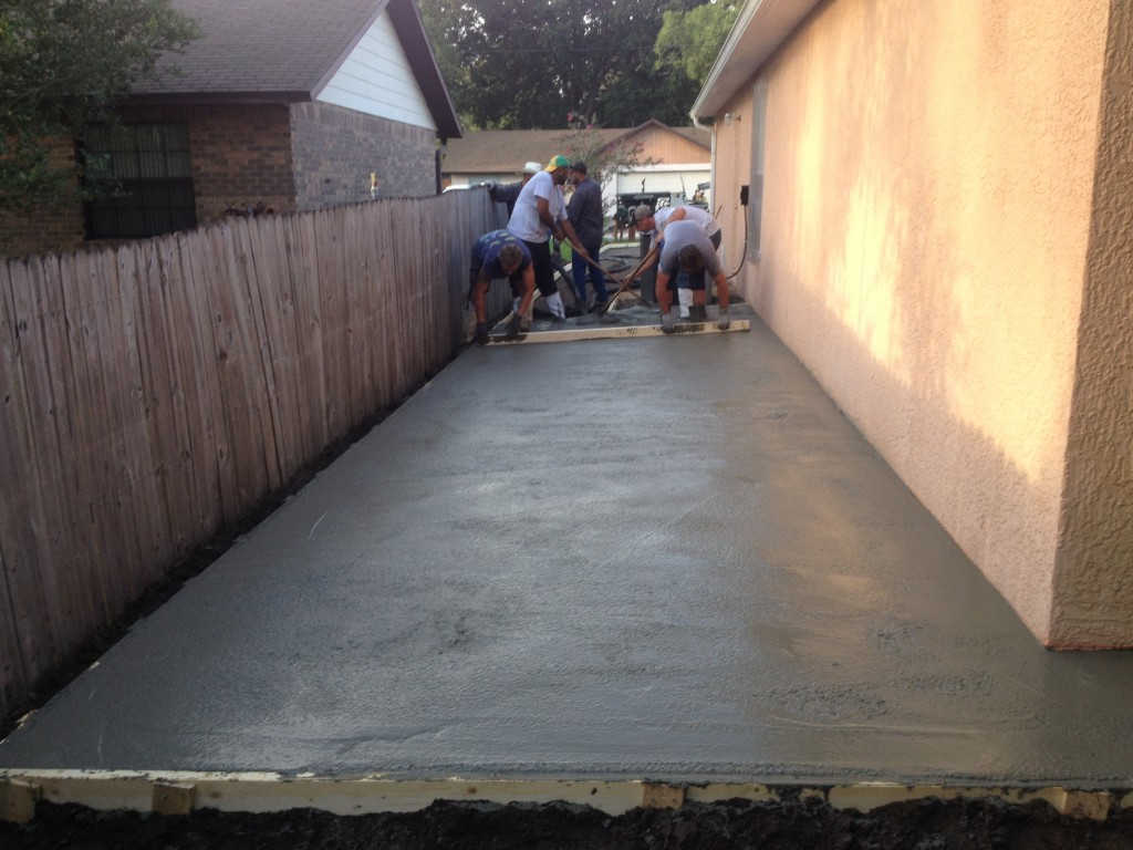 Hard at work getting the concrete poured.