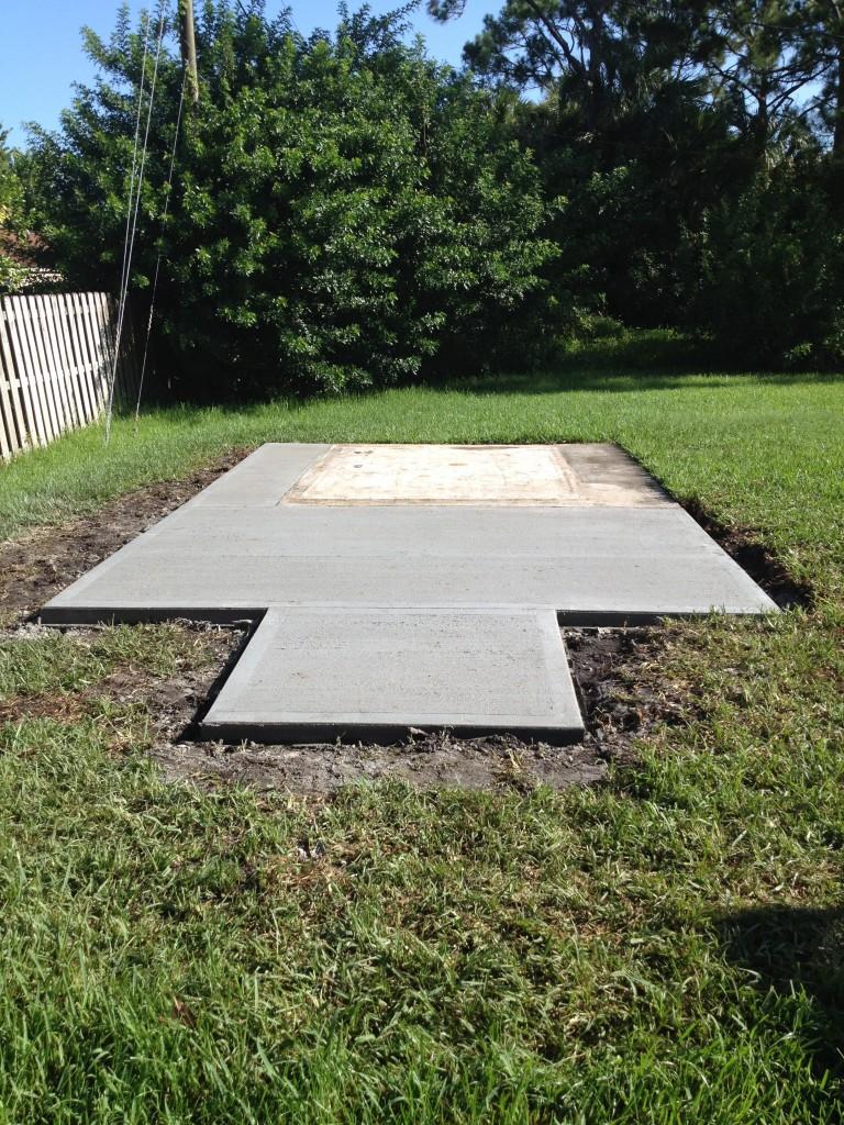 A finished concrete slab.