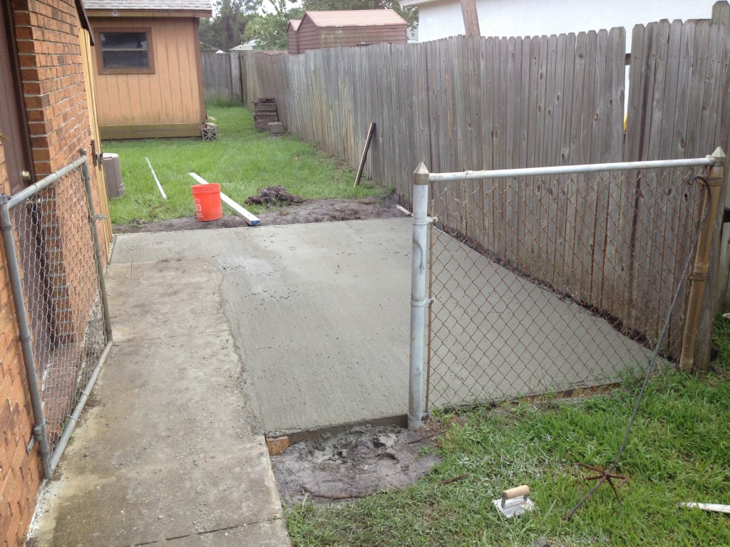 A finished concrete pad.