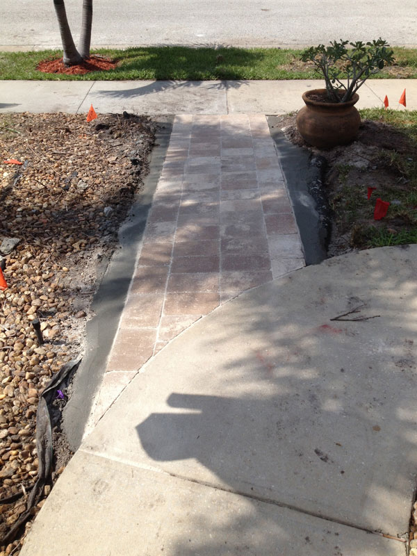 A finished concrete pavers.